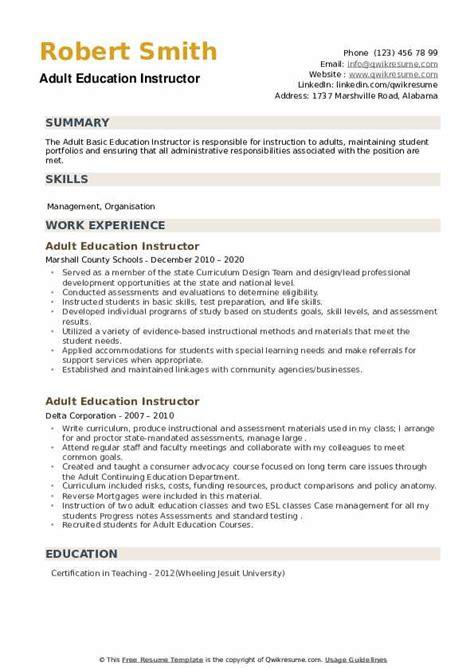 adult education instructor resume samples qwikresume