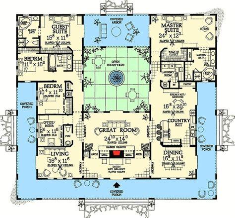 plan  open courtyard dream home plan courtyard house plans mediterranean house plans