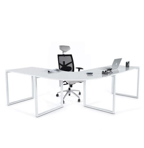 bureau d 39 angle alaska en bois blanc laqué design bureau