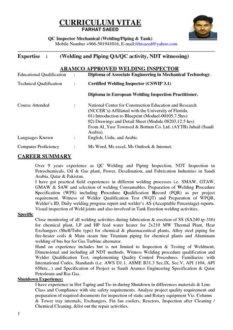 qa qc engineer resume sle resume ideas