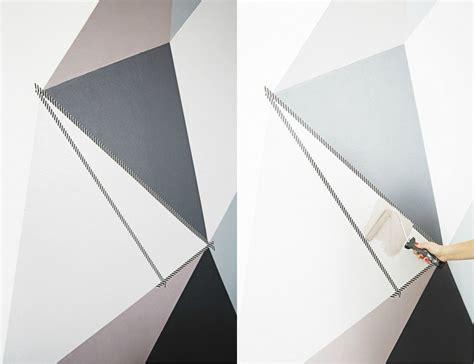 comment dessiner sur un mur de chambre peinture décorative dessin géométrique des triangles