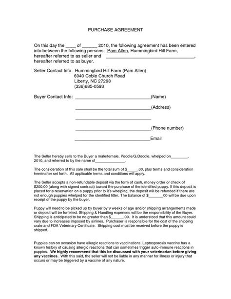 purchase agreement template purchase agreement template agreement sle templates