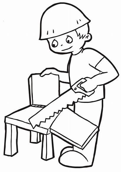 Gambar Pekerjaan Carpenter Mewarnai Tukang Kayu Kartun