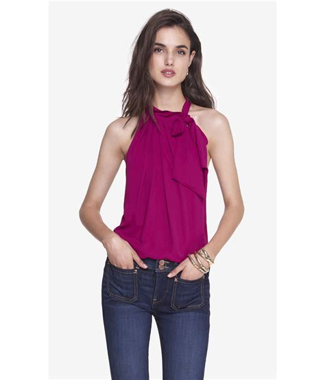 halter blouse lyst express tie neck halter blouse in purple