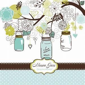 hand drawn mason jars card template and digital by With mason jar clip art for wedding invitations