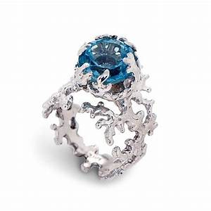 coral london blue topaz engagement ring 14k gold gemstone With unique gemstone wedding rings