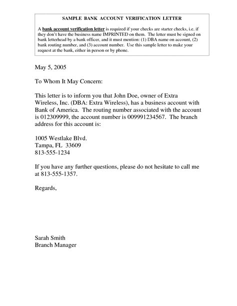 bank account verification letter bank account