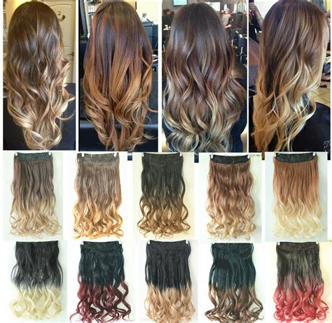 Dip Dye Clip In On Ombre Hair Extensions Synthetic