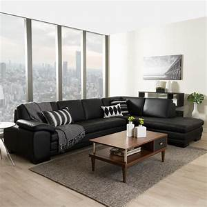 baxton studio diana 2 piece contemporary black faux With 2 piece black leather sectional sofa