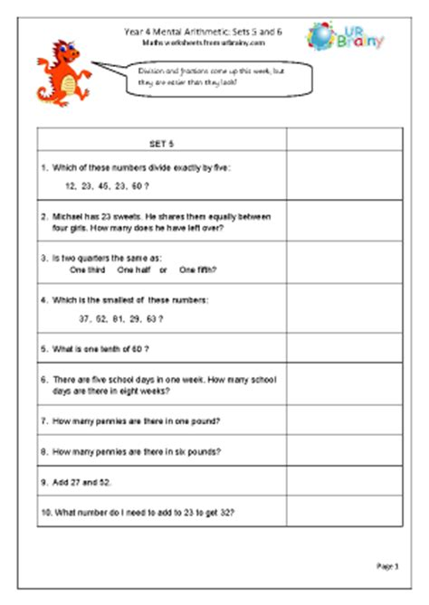 year 4 mental arithmetic sets 5 and 6