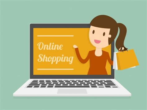 Online Shopping On Laptop Vector  Free Download