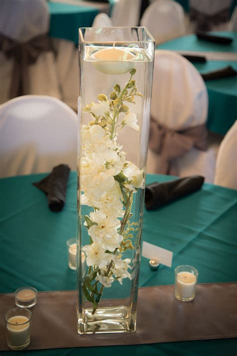 tall glass vase flowers  water wedding centerpieces tea