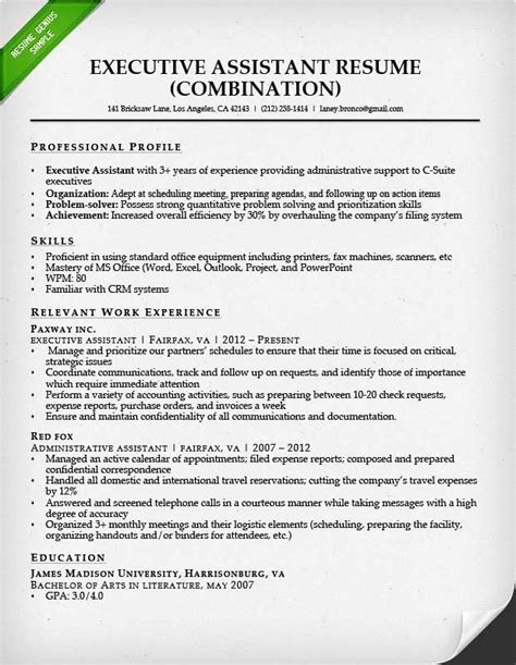 Exles Of Combination Resumes by Combination Resume For An Executive Assistant