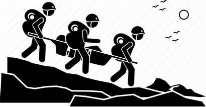 Rescue Clipart Mountain Icon Hiker Hiking Team