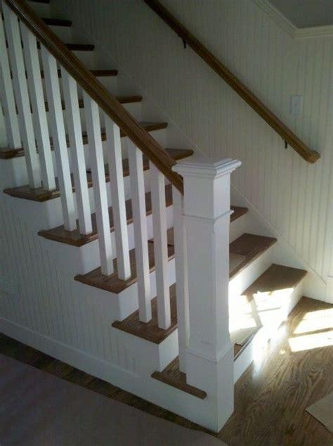 square ballusters beadboard stairways wainscoting