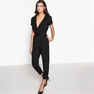 Combinaison Pantalon Femme Mariage : combinaison pantalon manches courtes noir la redoute ~ Carolinahurricanesstore.com Idées de Décoration
