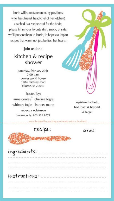 Kitchen Shower Invitation Recipe Card Engaged Wedding Love