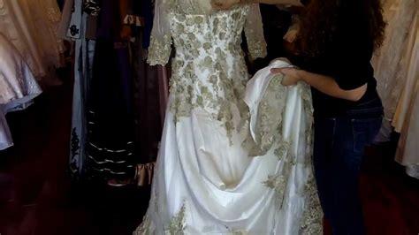 Antique Vintage Gold Lace Wedding Dress