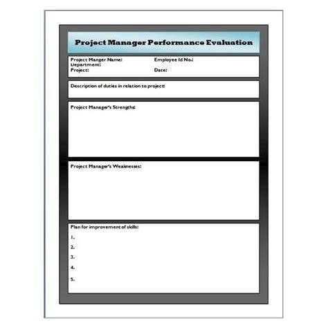 performance review template for managers sle performance evaluation for project manager use this free template to add depth to your