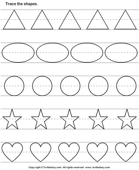 tracing basic shapes worksheet turtle diary 594 | answer tracing basic shapes