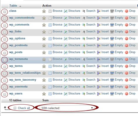 mysql show table contents delete multiple mysql tables in phpmyadmin xp android