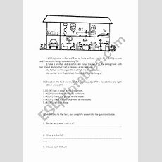 Reading Comprehension  Parts Of The House  Esl Worksheet By Patymedeiros