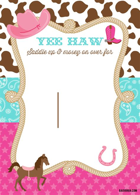 cowgirl birthday invitations bagvania