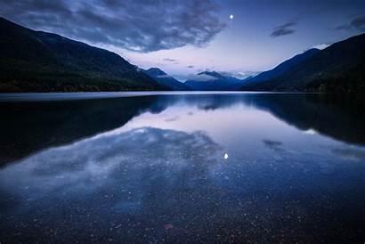 Water Moon Lake Mountain Night Surface Reflection