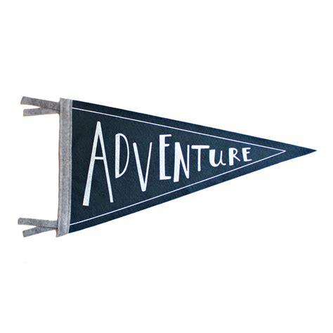 adventure wool pennant flag wall hanging screenprinted flag