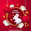 Origami red lantern and silhouette new year 2020 greeting card vector free download