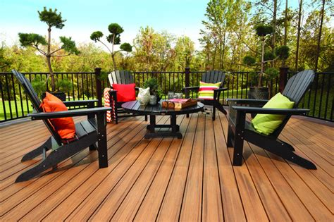 trex furniture deck traditional with adirondack chairs composite engineered wood outdoor
