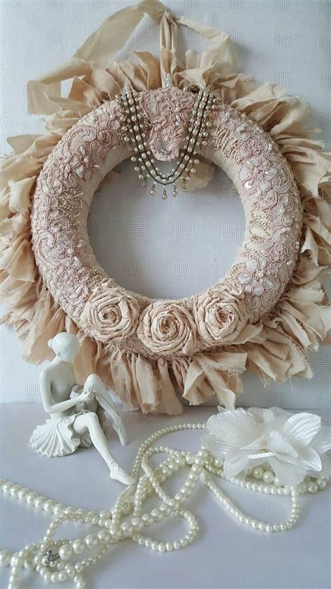25 best ideas about shabby chic wreath on vintage lace crafts breast cancer wreath