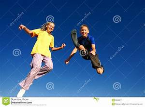 Happy Jumping Teens Stock Image - Image: 3649911