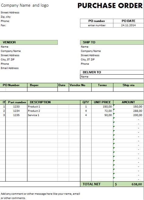 excel template  purchase order template
