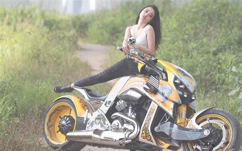 girls motorcycles full hd wallpaper  background image