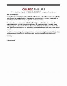 best entry level mechanic cover letter examples livecareer With entry level cover letter