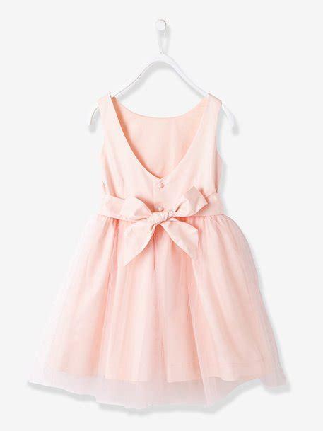 robe fille en satin et tulle blanc vertbaudet