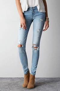 American Eagle Outfitters Light Destroy Wash Skinny Jeans Womens By American Eagle | Jeans and ...