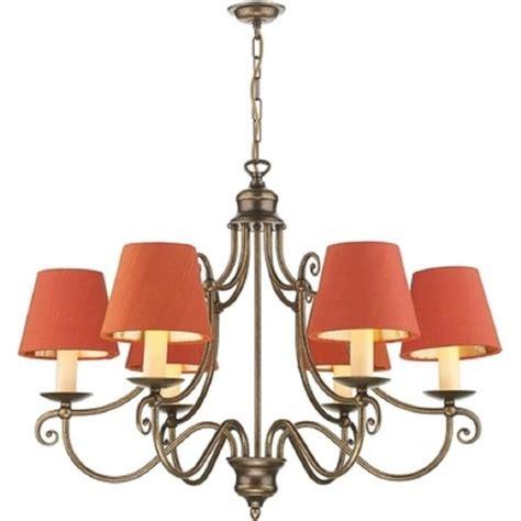 traditional period chandelier in vintage brass orange