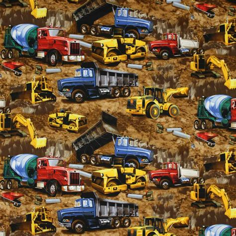 timeless treasures trucks and earth moving equipment brown fabric emerald city fabrics