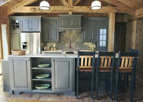 image result  log cabin gray kitchen cabinets rustic
