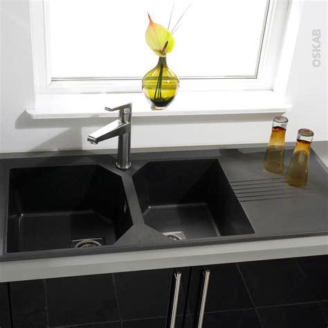 evier de cuisine 2 bacs evier de cuisine helix granit noir 2 bacs égouttoir à