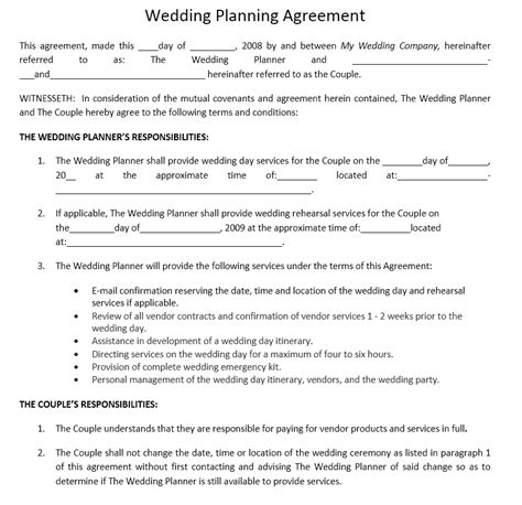 Professional Organizer Contract Template wedding event organizer contract template