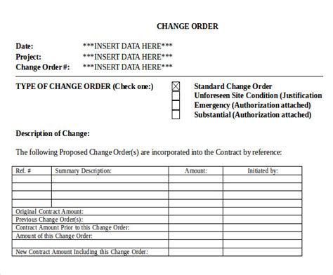 change order templates word pages  premium
