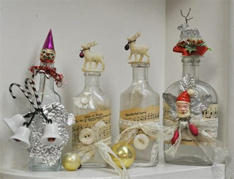 decorated christmas bottles  vintage home