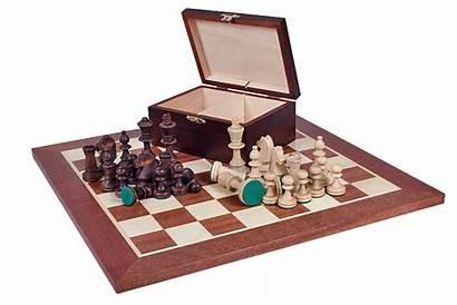 Chess Staunton Schaakbord Doos Houten Een Dark