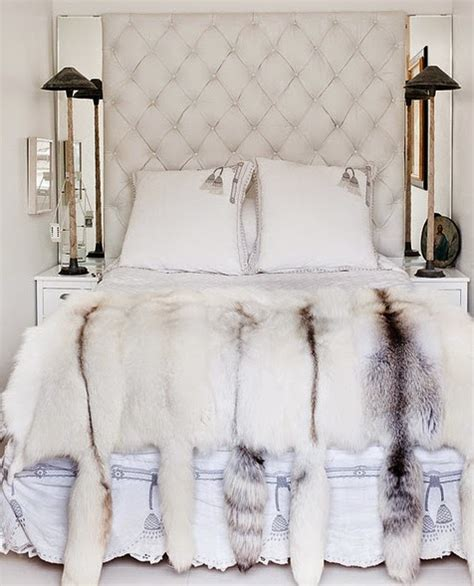 Faux Fur Headboard by Headboard With Mirrored Side Panels And Fur Throw Home