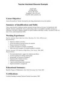 Teacher Assistant Resume Objective Free Resume Templates