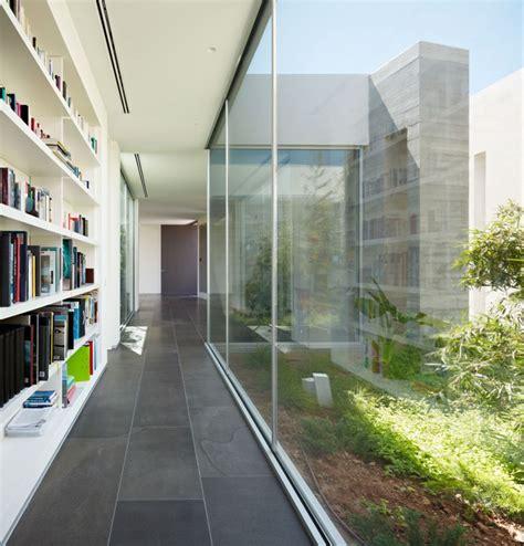 glass wall library interior design ideas
