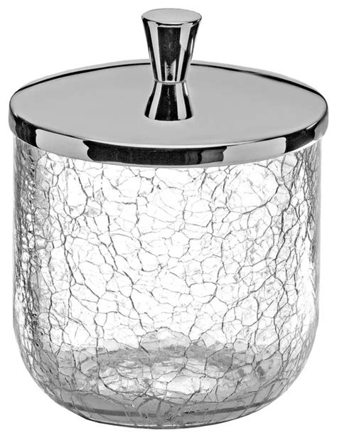 Crackle Cotton Ball Swap Container Cup Holder   Contemporary   Bathroom Canisters   by Macral